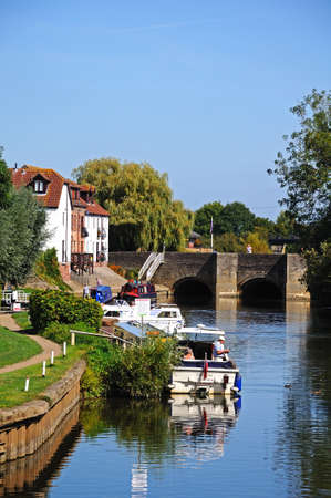 gloucestershire: Boats moored along the River Avon, Tewkesbury, Gloucestershire, England, UK, Western Europe.