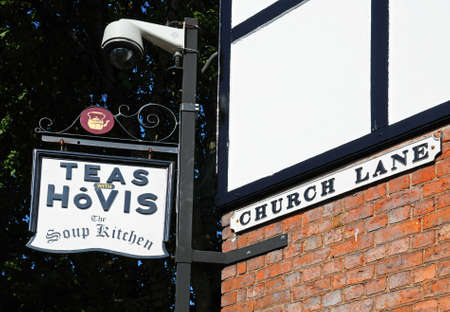 stafford: Tea with Hovis Soup Kitchen sign on a wall along Church Lane, Stafford, Staffordshire, England, UK, Western Europe.