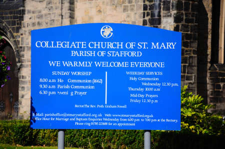 staffordshire: Collegiate Church of St Mary sign, Stafford, Staffordshire, England, UK, Western Europe. Editorial