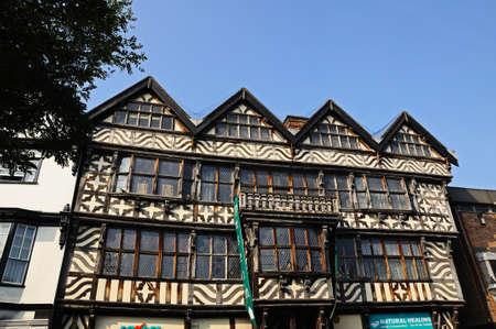 stafford: Vista frontale di The Ancient High House lungo Greengate Street, nel centro della citt�, Stafford, Staffordshire, Inghilterra, Regno Unito, Europa occidentale.