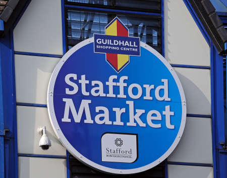 stafford: Stafford Indoor Market sign, Stafford, Staffordshire, England, UK, Western Europe. Editorial