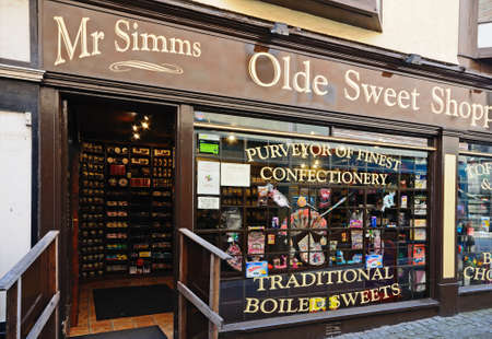 shoppe: Mr Simms Olde Sweet Shoppe in the town centre, Stafford, Staffordshire, England, UK, Western Europe.