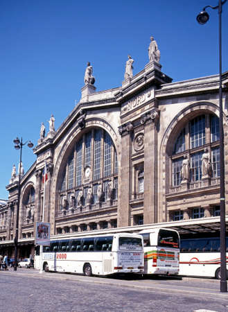 nord: Coaches parked outside the entrance to the Gare du Nord railway station, Paris, France, Western Europe.