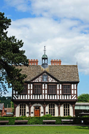 grange: Front view of the timber framed Grange Court which was formerly the Market Hall, Leominster, Herefordshire, England, UK, Western Europe.