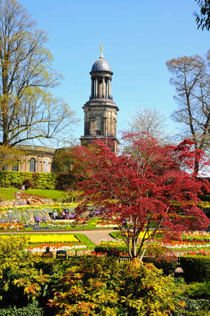 chads: View of The Dingle formal garden in Quarry Park during the Springtime with St Chads church to the rear, Shrewsbury, Shropshire, England, UK, Western Europe. Editorial