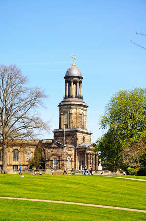 View of St Chads church with people relaxing in the park, Shrewsbury, Shropshire, England, UK, Western Europe.