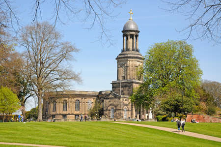 chads: View of St Chads church with people relaxing in the park, Shrewsbury, Shropshire, England, UK, Western Europe.
