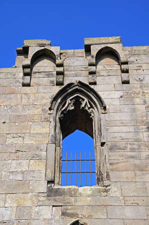 stafford: View of the Gothic Revival castle ruin window detail, Stafford, Staffordshire, England, UK, Western Europe. Stock Photo