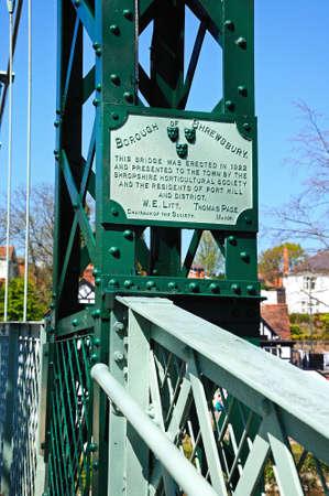 severn: Name plaque on the Porthill Suspension Bridge across the River Severn, Shrewsbury, Shropshire, England, UK, Western Europe. Stock Photo
