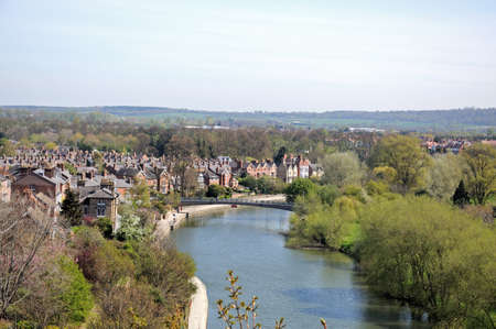 severn: View along the River Severn seen from the castle, Shrewsbury, Shropshire, England, UK, Western Europe.