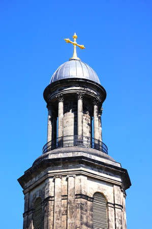 View of St Chads church tower and dome with a gold cross on top, Shrewsbury, Shropshire, England, UK, Western Europe.