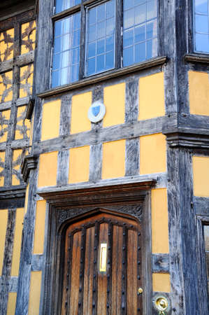 half timbered house: Architecture detail and door of Castle Gates House, Shrewsbury, Shropshire, England, UK, Western Europe. Editorial