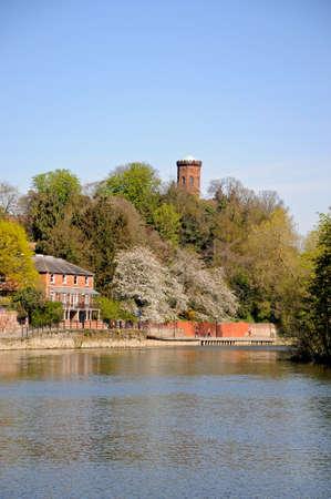 severn: View along the River Severn and Embankment buildings, Shrewsbury, Shropshire, England, UK, Western Europe.