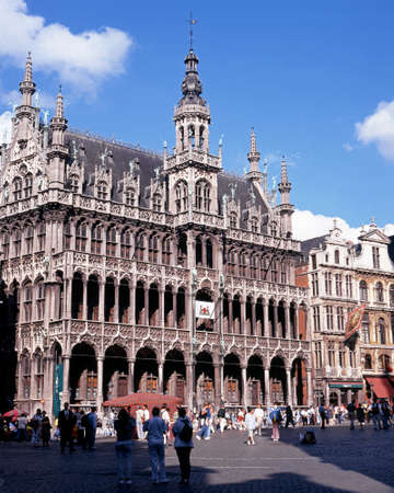 du: View of the Maison du Roi Kings House in the Grand Place Brussels Belgium Western Europe.
