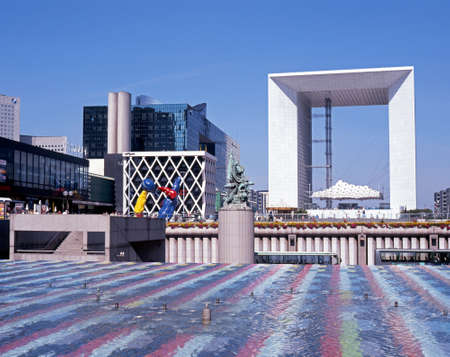 western europe: The Grand Arch at La Defense a fountain in the foreground Paris France Western Europe.