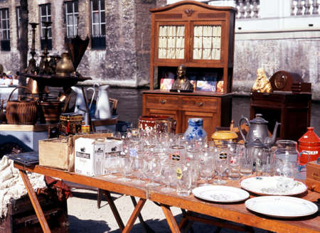 western europe: Market stall selling glassware along the Dijver Bruges Belgium Western Europe. Editorial