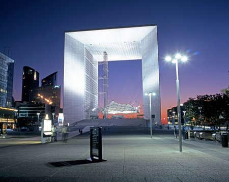 la defense: The Grand Arch at La Defense at dusk Paris France Western Europe.