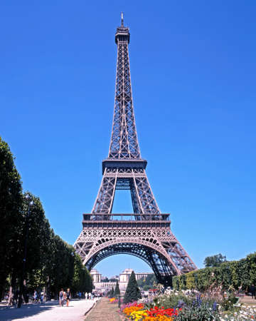 flowerbeds: View of the Eiffel Tower with flowerbeds in the foreground Paris France Western Europe. Editorial