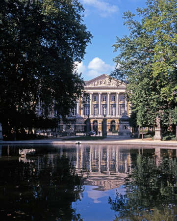 Bruxelles: Palace of the Nation Palais de la Nation seen from the Parc De Bruxelles Brussels Belgium Western Europe.