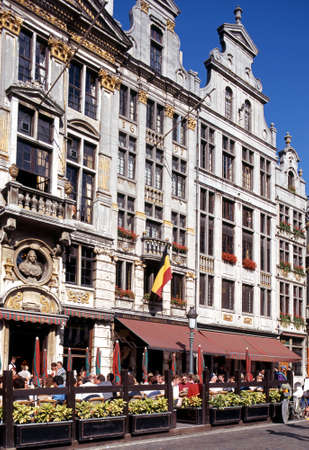 gulden: Pavement cafes in the Grand Place Brussels Belgium Western Europe. Editorial