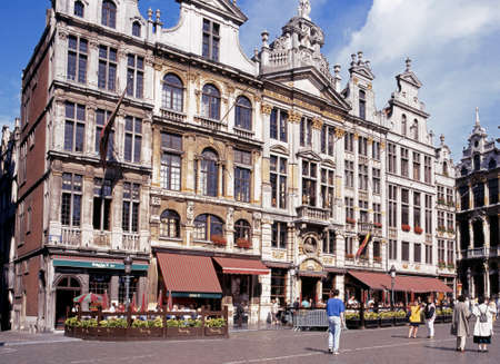 gulden: Pavement cafes in the Grand Place Brussels Belgium Europe Editorial