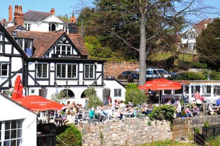 severn: People having lunch outside The Boathouse Pub alongside the River Severn Shrewsbury Shropshire England UK Western Europe.