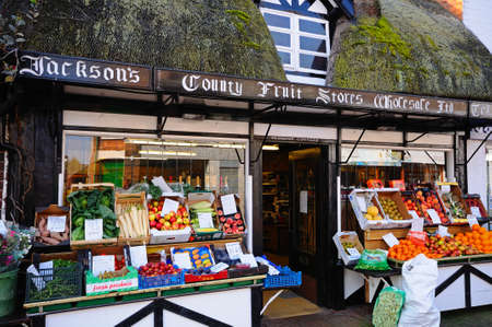 old fashioned vegetables: Fruit and vegetable shop in a thatched building along Mill Street in the town centre Stafford Staffordshire England UK Western Europe. Editorial