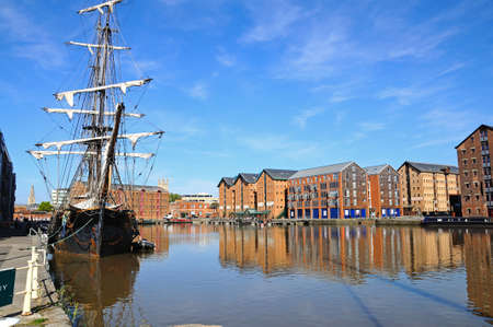 gloucestershire: Tall ship moored at Gloucester Docks Gloucester Gloucestershire England UK Western Europe. Editorial