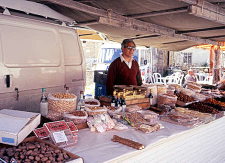 pano: Market Stall selling nuts and dried fruits Pano Lefkara Cyprus. Editorial