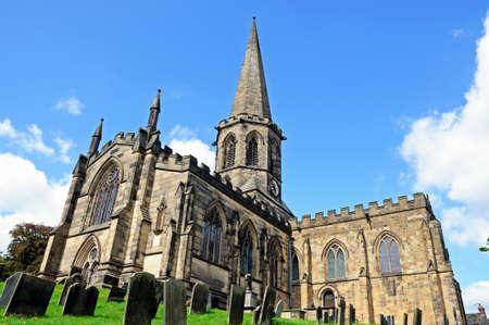 churchyard: All Saints Parish Church and churchyard, Bakewell, Derbyshire, England, UK, Western Europe. Stock Photo
