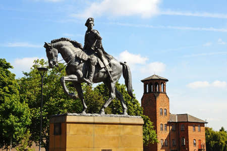 prince charles of england: Bonnie Prince Charlie Statue (Charles Edward Stuart 1720-1788) on Cathedral Green, Derby, Derbyshire, England, UK, Western Europe.