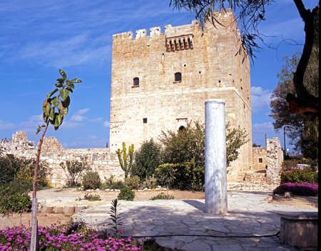 flowerbeds: View of the castle with flowerbeds in the foreground, Kolossi, Cyprus.