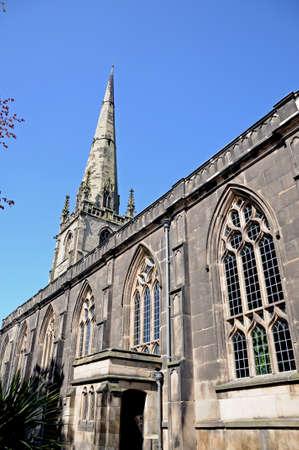 mediaeval: St Alkmunds Church spire and windows, Shrewsbury, Shropshire, England, UK, Western Europe. Stock Photo