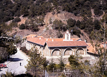 elevated view: Elevated view of the Kykkos Monastery, the most powerful in Cyprus and in Greek Orthodox Church, Cyprus. Stock Photo