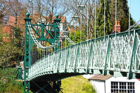 severn: Porthill Suspension Bridge across the River Severn, Shrewsbury, Shropshire, England, UK, Western Europe.
