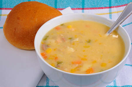 haddock: Fish chowder soup including smoked haddock, cod, salmon and vegetables served with a bread roll.