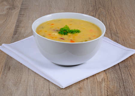 haddock: Fish chowder soup including smoked haddock, cod, salmon and vegetables.