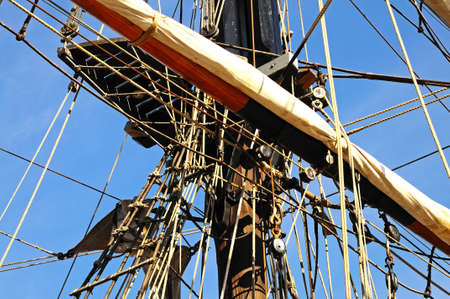 tall ship: Rigging detail on the tall ship moored at Gloucester Docks Gloucester Gloucestershire England UK Western Europe.