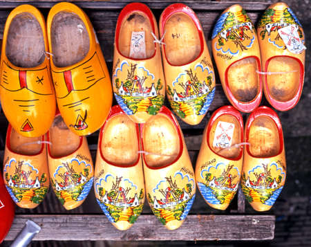 clogs: Painted clogs for sale outside a city centre shop, Amsterdam, Holland, Netherlands, Europe.