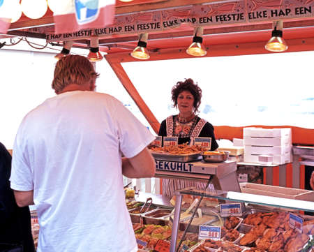 volendam: Market stall selling seafood and meat products, Volendam, Holland, Netherlands, Europe.