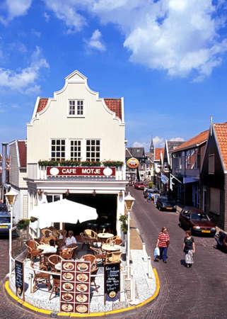 volendam: Pavement cafe on the corner of two streets, Volendam, Holland, Netherlands, Europe.