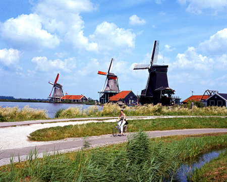 zaan: Row of windmills along the banks of the river Zaan with a cyclist in the foreground, Zaanse Schans, Holland, Netherlands, Europe.