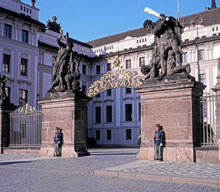 central europe: Guards outside the gates to first courtyard of Hradcanyr, Prague, Czech Republic, Central Europe.