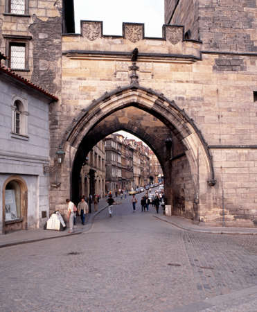 central europe: Archway under lesser quarter bridge tower, Prague, Czech Republic, Central Europe.