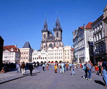 central europe: View across the Old Square towards the Tyn Church, Prague, Czech Republic, Central Europe.