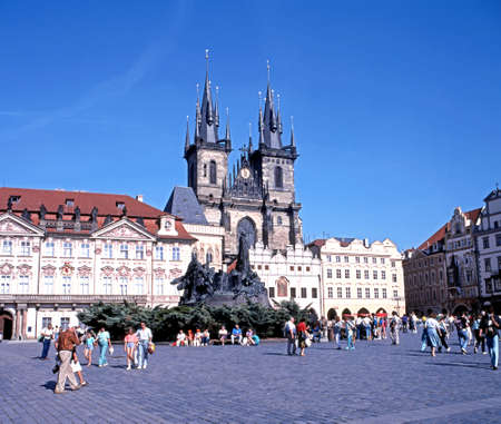tyn: View across the Old Square towards the Tyn Church, Prague, Czech Republic, Central Europe.