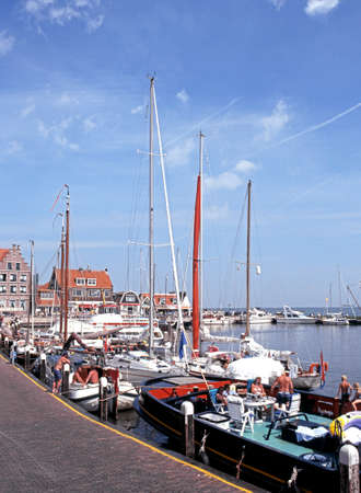 volendam: Yachts and boat in the harbour during the Summertime, Volendam, Holland, Netherlands, Europe.