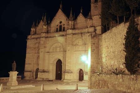 real renaissance: Santa Maria church in the Plaza de Santa Maria at night Antequera Malaga Province Andalucia Spain Western Europe. Stock Photo