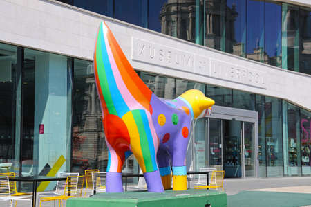 liverpool: The Museum of Liverpool building at Pier Head with a Superlambanana in the foreground, Liverpool, Merseyside, England, UK, Western Europe.