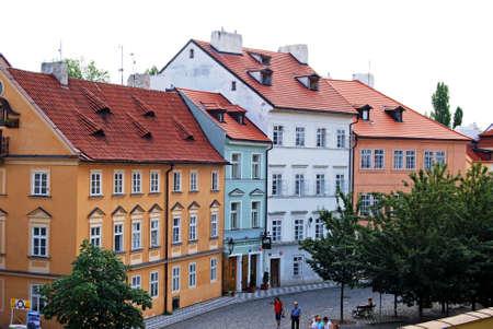 praha: Typical pastel coloured city centre buildings, Prague, Czech Republic, Eastern Europe.